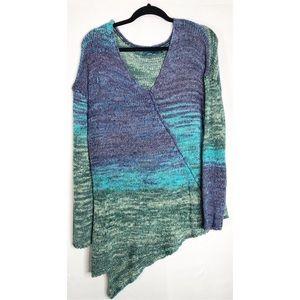 Prana blue ombré asymmetrical knit sweater L